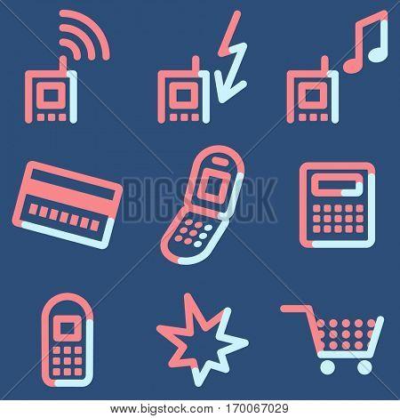 Mobile phone  icons, light blue contour