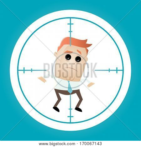 businessman in crosshairs cartoon clipart