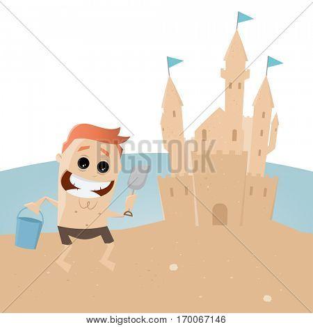 funny man building a sandcastle