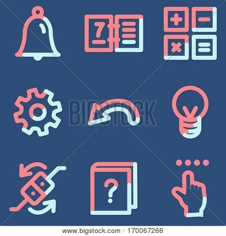 Organizer icons, light blue contour