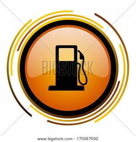 Gas station sign vector icon. Modern design round orange button isolated on white square background for web and application designers in eps10.
