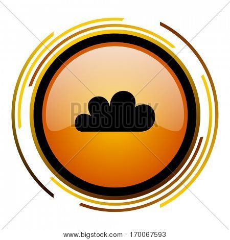 Weather forecast cloud sign vector icon. Modern design round orange button isolated on white square background for web and application designers in eps10.