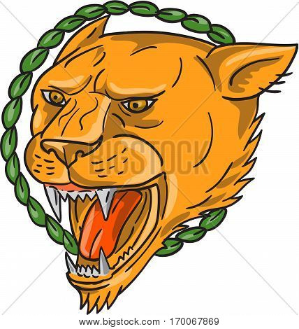 Tattoo style illustration of a lioness growling with ring of leaves in the background set on isolated white background.