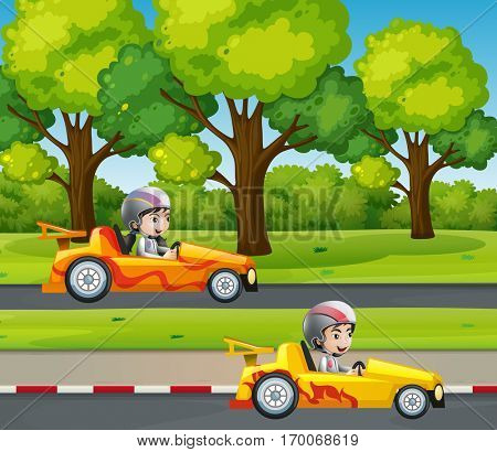 Two racers racing car on the road illustration