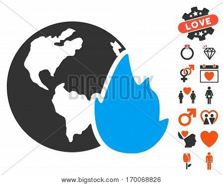 Planet Flame icon with bonus love images. Vector illustration style is flat iconic symbols for web design app user interfaces.