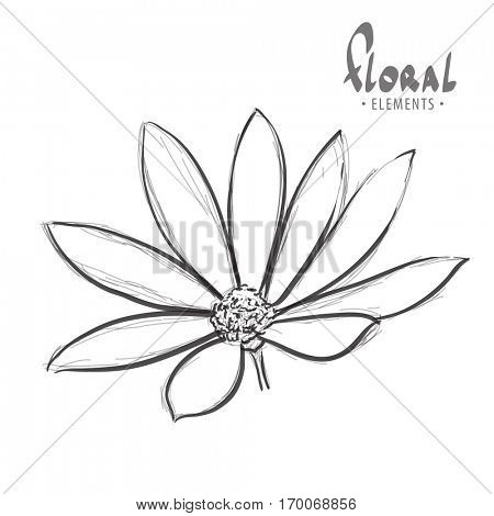 Flower on a white background for colouring