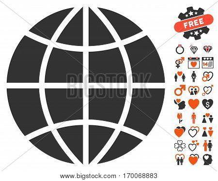 Planet Globe icon with bonus dating pictures. Vector illustration style is flat iconic symbols for web design app user interfaces.