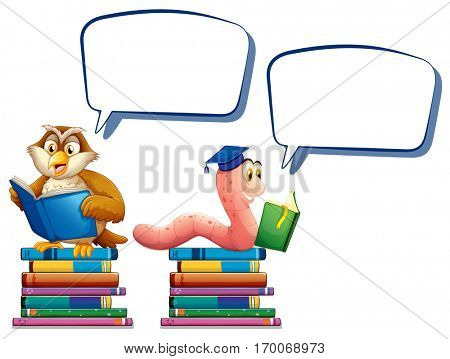 Owl and worm reading books illustration