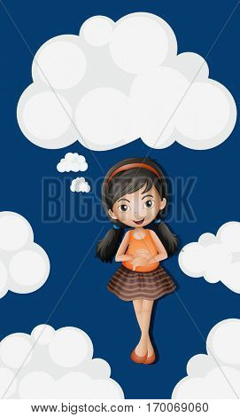 Little girl standing on fluffy clouds background illustration