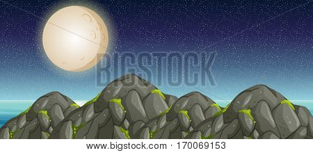 Scene with fullmoon and mountains illustration