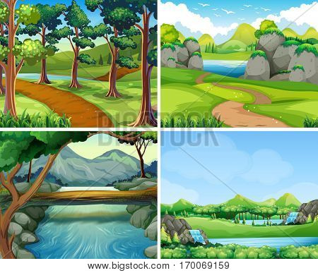 Four scenes with river and tree illustration