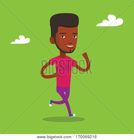 An african-american young man running. Happy male runner jogging. Full length of a smiling female athlete running. Sportsman in sportswear running. Vector flat design illustration. Square layout.