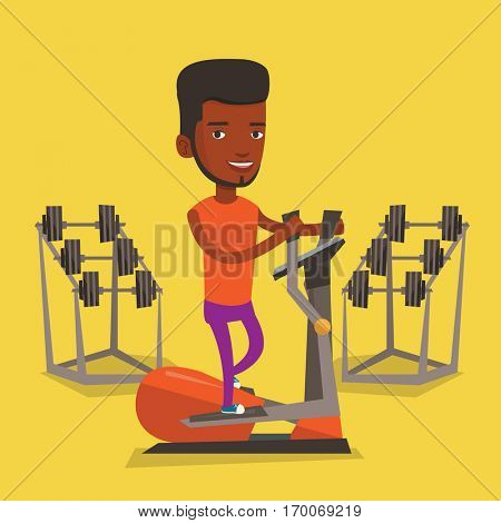 An african-american man exercising on elliptical trainer. Man working out using elliptical trainer at the gym. Man doing exercises on elliptical trainer. Vector flat design illustration. Square layout