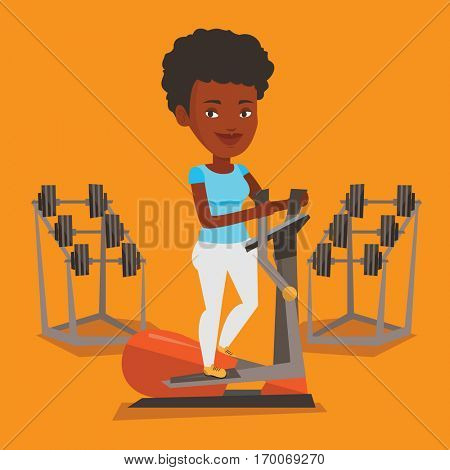 An african woman exercising on elliptical trainer. Woman working out using elliptical trainer in the gym. Woman doing exercises on elliptical trainer. Vector flat design illustration. Square layout.