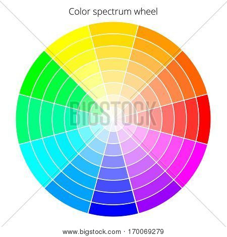 Vector color spectrum, Itten 12-color wheel, RBG palette, on white background