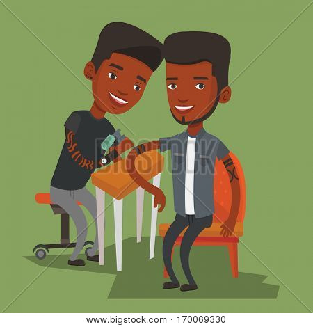 An african-american young tattooist makes a tattoo on the hand of a man. Tattooist makes a tattoo to a client. Professional tattoo artist at work. Vector flat design illustration. Square layout.
