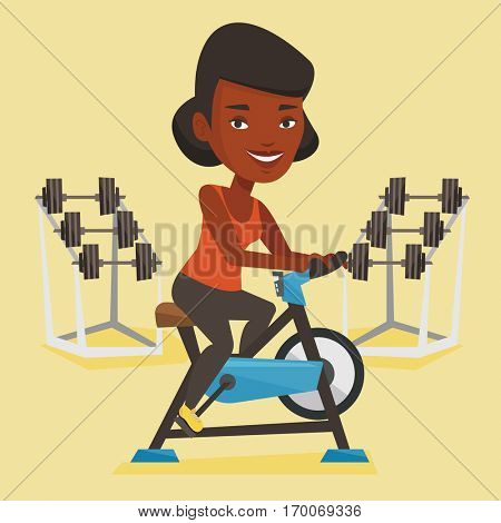 An african-american woman riding stationary bicycle in the gym. Woman exercising on stationary training bicycle. Woman training on exercise bicycle. Vector flat design illustration. Square layout.