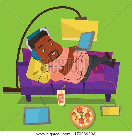 An african man with belly relaxing on a sofa with many gadgets. Man lying on a sofa surrounded by gadgets and fast food. Fat man using gadgets at home. Vector flat design illustration. Square layout.