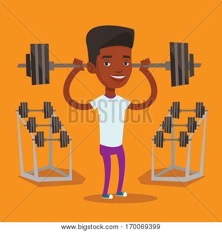 An african-american sporty man lifting a heavy weight barbell. Strong sportsman doing exercise with barbell. Weightlifter holding a barbell in the gym. Vector flat design illustration. Square layout.