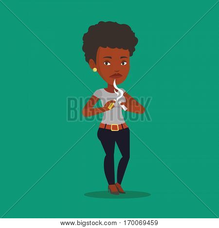 An african-american woman breaking the cigarette. Young woman crushing cigarette. Sad woman holding broken cigarette. Quit smoking concept. Vector flat design illustration. Square layout.