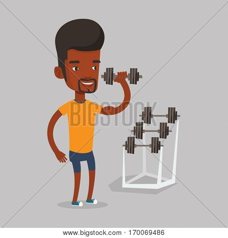 An african-american sporty man lifting a heavy weight dumbbell. Strong sportsman doing exercise with dumbbell. Weightlifter holding dumbbell in the gym. Vector flat design illustration. Square layout