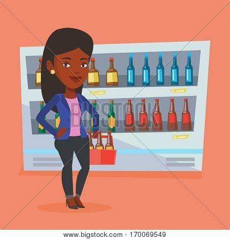 An african woman standing in alcohol store with pack of beer on the background of refrigerator. Woman buying beer. Beer lover holding pack with bottles. Vector flat design illustration. Square layout.