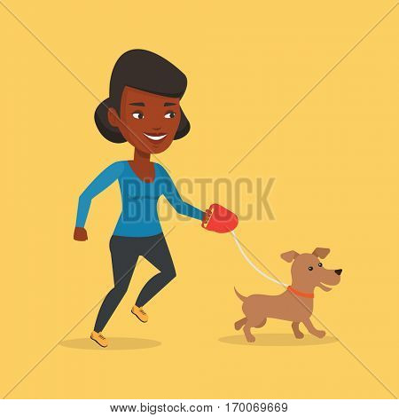 An african-american young woman with her dog. Happy woman taking dog on walk. Smiling woman walking with her small dog on leash. Vector flat design illustration. Square layout.
