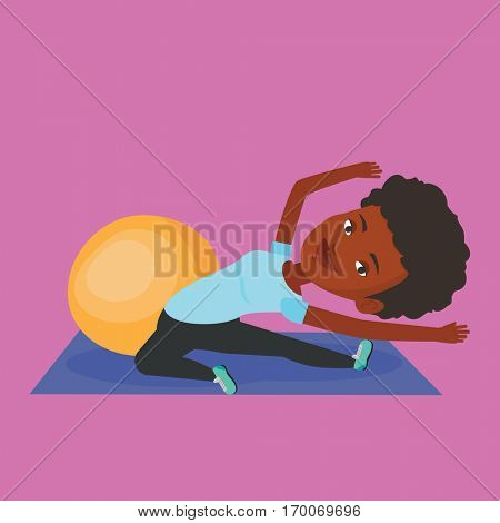 African woman exercising in the gym. Woman doing stretching on exercise mat. Sportswoman stretching before training. Woman doing stretching exercises. Vector flat design illustration. Square layout.
