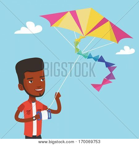 An african-american young man flying a colourful kite outdoors. Happy man walking with kite. Cheerful man playing with kite. Vector flat design illustration. Square layout.