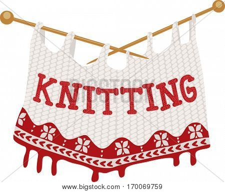 Illustration Featuring a Knitted Piece of Cloth Dangling from a Pair of Knitting Needles