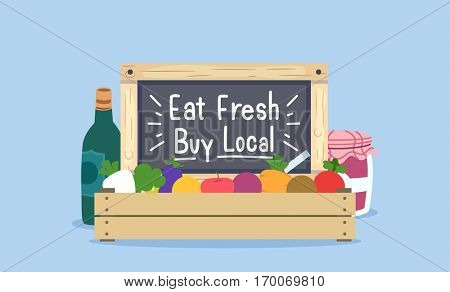 Illustration of a Wooden Crate Filled with Fresh Fruits and Vegetables Encouraging Buyers to Eat Fresh and Buy Local