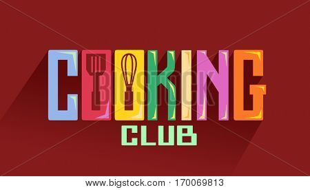 Typography Illustration Featuring the Phrase Cooking Club Decorated with Common Kitchen Tools