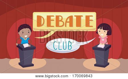 Stickman Illustration of a Little Boy and Girl Standing on Their Respective Podia During a Debate Match