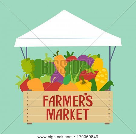 Typography Illustration Featuring a Stall at a Farmers Market Overflowing with Fruits and Vegetables