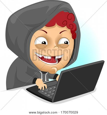 Illustration of a Naughty Little Boy in a Hooded Jacket Bullying Someone Over the Internet