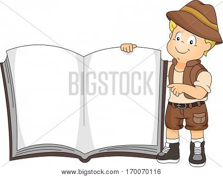 Illustration of a Cute Little Boy in a Safari Outfit Holding a Giant Book Open