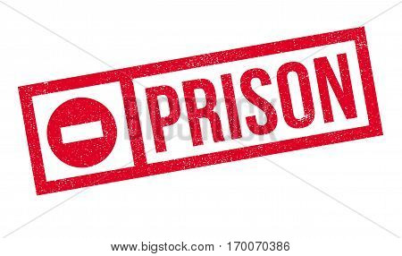 Prison rubber stamp. Grunge design with dust scratches. Effects can be easily removed for a clean, crisp look. Color is easily changed.