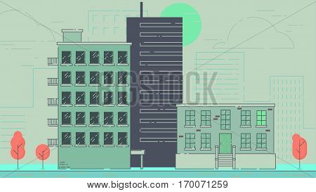 City Street stroke style vector illustration skyskrapers navy palette