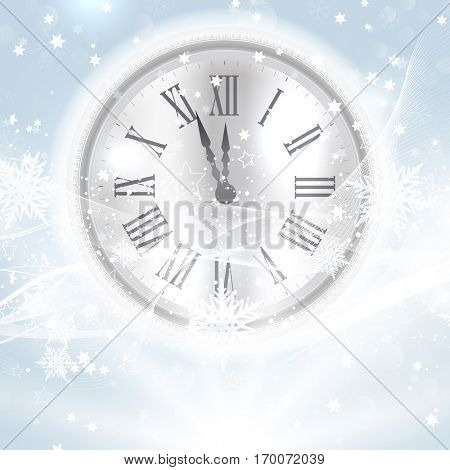 Decorative Happy New Year background with clock nestled in snow