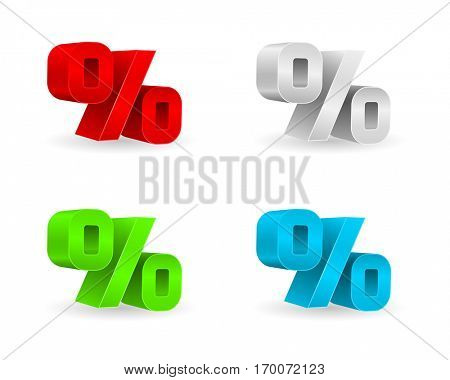 percent 3d business icon