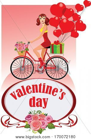 girl on bicycle, valentine?s day, give gifts, present heart