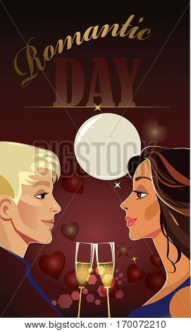 valentines day card, man and woman couple, lover pair, romantic day