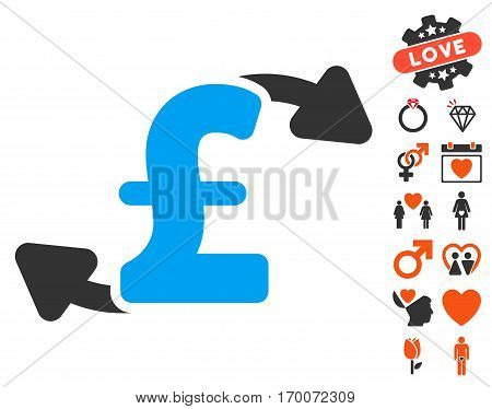 Pound Cash Outs icon with bonus marriage design elements. Vector illustration style is flat iconic elements for web design app user interfaces.