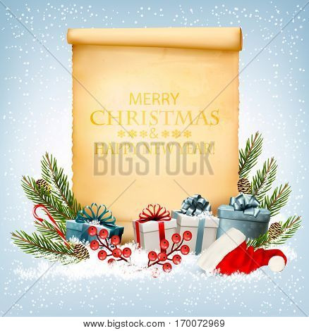 Holiday Christmas background with a gift boxes and old paper. Vector