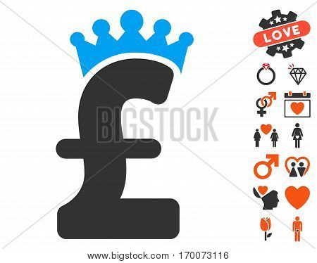 Pound Crown icon with bonus love icon set. Vector illustration style is flat iconic symbols for web design app user interfaces.