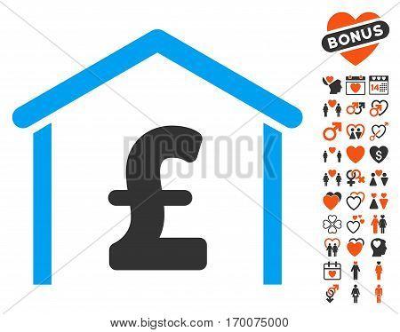 Pound Garage pictograph with bonus valentine symbols. Vector illustration style is flat iconic symbols for web design app user interfaces.