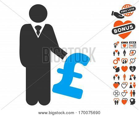 Pound Investor icon with bonus love images. Vector illustration style is flat iconic elements for web design app user interfaces.