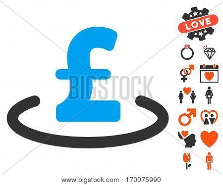 Pound Location icon with bonus valentine symbols. Vector illustration style is flat iconic symbols for web design app user interfaces.