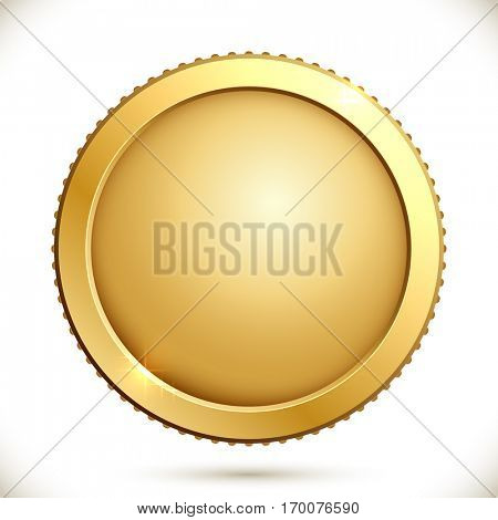 Shiny gold coin isolated on a white background. Vector illustration of golden blank label.