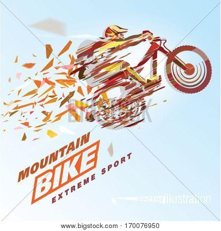 Artistic stylized mountain biker in motion